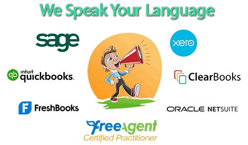We speak Sage, Quickbooks, Freshbooks, Xero, Clearbooks, Netsuite, FreeAgent and many more